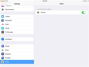 How can we export images from the Wixie app on the iPad? (Wixie)